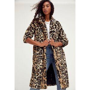New Free People Chloe Leopard Faux Fur Jacket Coat